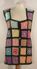 Vintage 1960s gorgeous hand-crocheted multi-coloured patchwork gilet, size 8