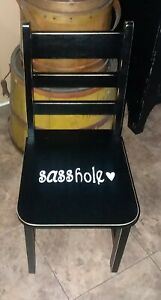 Child's kids boy girl naughty time out black white wood chair ~ sasshole !