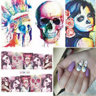 24 Pcs Halloween Full Wrap Skull Tattoo Women Nail Art Water Transfer Stickers