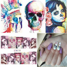 24 Pcs Full Wrap Old Skull Tattoo Women Nail Art Water Transfer Decal Stickers