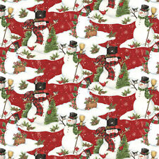 SPRINGS CHRISTMAS SNOWMAN SCENIC FABRIC CP64465
