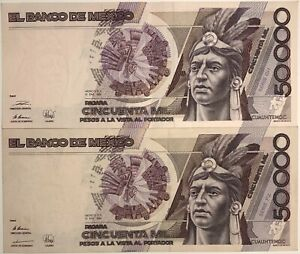 Mexico Paper Money set x 2 50,000 Pesos 10.1.1990 P-93b  XF-AU