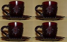 Avon 1876 Red Ruby Cape Cod Pattern Glass 8pcs ( 4 Cups - 4 Saucer Plates) new