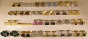 -24 LOT Vintage 23 pair Cuff Links & 1 matching tie bar swank hickok anson (24j)
