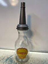 Shell Motor Oil Bottle Spout Cap Glass 1 Quart Vintage Style Gas Station