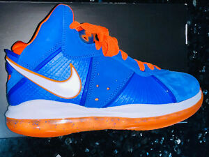 Nike LeBron 8 VIII QS Hardwood Classic Cavs/Knicks Blue Orange SZ 9 Jordan XI IV