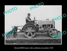 OLD LARGE HISTORIC PHOTO OF HOWARD DH22 TRACTOR & CULTIVATOR PRESS PHOTO
