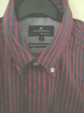 NEW M+S Blue Harbour Soft Cotton Red +Blue Stripe Tailored   Fit Size S 36/38