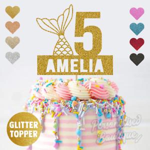Personalised Custom Glitter Cake Topper Mermaid Tail Kids Childrens Birthday