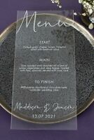 Acrylic Wedding Menu, Clear Perspex Wedding Menu, Engraved Menu