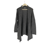 Margaret O'leary Womens Cardigan Open Knit Lagenlook Sweater Wool Gray Large L