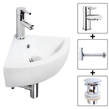 COMPACT SMALL CLOAKROOM CORNER BASIN SINK WALL HUNG TAP & TRAP & WASTE SET UNIT