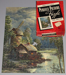 """VINTAGE PERFECT PICTURE PUZZLE LARGE BOX JIGSAW """"MILL IN MOONLIGHT"""" WAR BOND -1"""