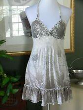 Guess SOFTSOFT Cotton Stretch White/Gray Ruffle Hem Empire Halter Dress/Tunic S