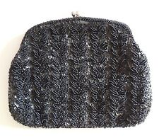 Quality Vintage Dark Black Beaded Purse Clutch Evening Hanbag-Richere by Wolborg