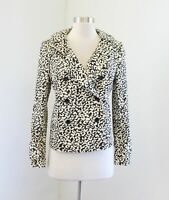 J Crew Off White Beige Black Leopard Print Double Breasted Jacket Size 4 Cheetah