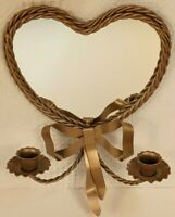 Homco Twisted Gold Metal Rope Heart & Bow Wall Mirror Sconce Candle Holder EUC