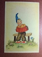 Vintage postcard 1930s Artist signed DO. Young GNOME Dwarf Magic harmonica Music