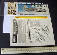 *1960s Vintage Airfix Instructions & Decals (No Kit) English Electric Lightning