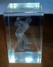 3D Laser Etched Crystal Block - Golfer Hitting Ball