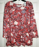 NEW LAURA SCOTT PLUS WOMEN'S TOP SIZE 2X 3/4 SLEEVE DARK DUSTY ROSE FLORAL