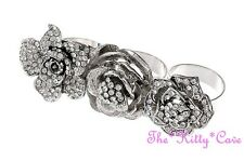 Pimp Rapper Mob Wife Gangsta Ice Bling 3 Finger Plate Flower Floral Crystal Ring