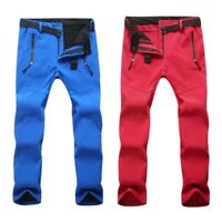 Outdoor Hiking Pants Thickened Fleece Lined Trousers Waterproof Softshell Pants