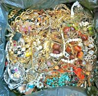 UNTESTED Jewelry Vintage Modern Huge Lot Junk Craft Box FULL POUNDS Pieces Parts