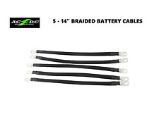 2 Awg HD Golf Cart Battery Cable 5 pc Black Club Car DS 1995 & Up BRAIDED Set