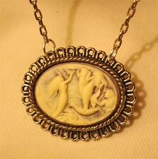 Lovely Scalloped Picot Rim Violet and Cream Mermaids Silvertone Pendant Necklace