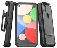 Google Pixel 4a Case w Built-In Screen Protector & Belt Clip Holster - Black