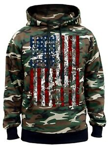 Men's Huge USA Flag Camo Hoodie Sweater American Pride Symbol Military Native US