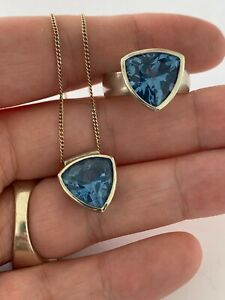 Solid silver blue topaz ring & matching pendant necklace, 925
