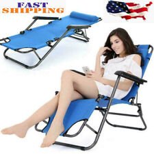 Portable Blue Folding Reclining Chair Chaise Lounge Recliner Benches Garden Usa