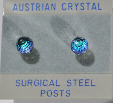 6mm Austrian Crystal VG Aqua Blue Disco Ball Stud Earrings on stainless steel
