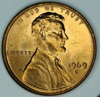 1969-S Lincoln Memorial One Cent Copper Penny 1¢. DIE FLASH MEMORIAL BU RED GEM