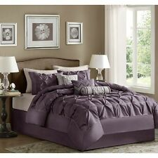 7-Piece Comforter Set Elegant Tufted Contemporary Bedding King Size Bed Purple