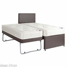 3FT SINGLE GUEST BED 3 IN 1 WITH MATTRESS PULLOUT TRUNDLE BED IN FAUX LEATHER