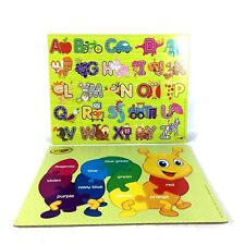 Lot of 2 Crayola Colors and Letter Cardboard Frame Tray Puzzles 24 Pc and 11 Pc.