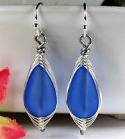 SEA GLASS Teardrop Cobalt Blue Weaved Wire SILVER Dangle Earrings USA HANDMADE