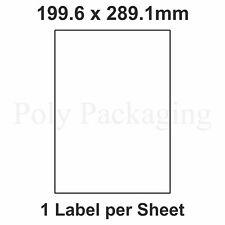 More details for a4 printer labels(1 per sheet)(199.6x289.1mm)plain self adhesive address sticky