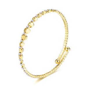 Shiny Open Bangle Thin Fashion Bracelet Silver Gold luxury CZ Rhinestones BB256