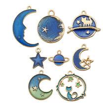8PC Pendant Craft Charm Earrings/Bracelet Moon/Star/Planet For Cute Enamel DIY