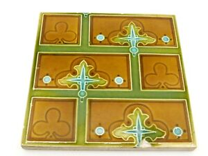 """Antique Minton Tile With Gothic Design. 6"""" x 6"""". Embossed Makers Mark."""