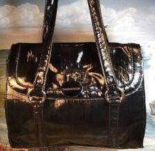 SAG HARBOR Shoulder Bag Black Shiny Faux Patent Leather Womens Purse EUC