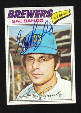 Sal Bando--Autographed 1977 Topps Baseball Card--Milwaukee Brewers