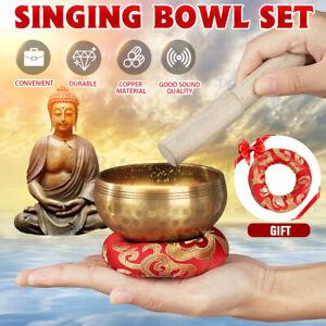 Hand Hammered Singing Bowl+Wood Rod+Mat Chakra Tibetan Meditation Yoga AU