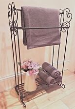 SHABBY CHIC TOWEL RAIL SHELF UNIT STORAGE BATHROOM FREE STANDING FRENCH VINTAGE