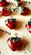 Strawberry enamel charms 2 silver vintage style  jewellery supplies