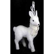 Figura de Pie Blanco 40cm Fluffy Decoración de Navidad de Ciervo estacional Decoración del hogar